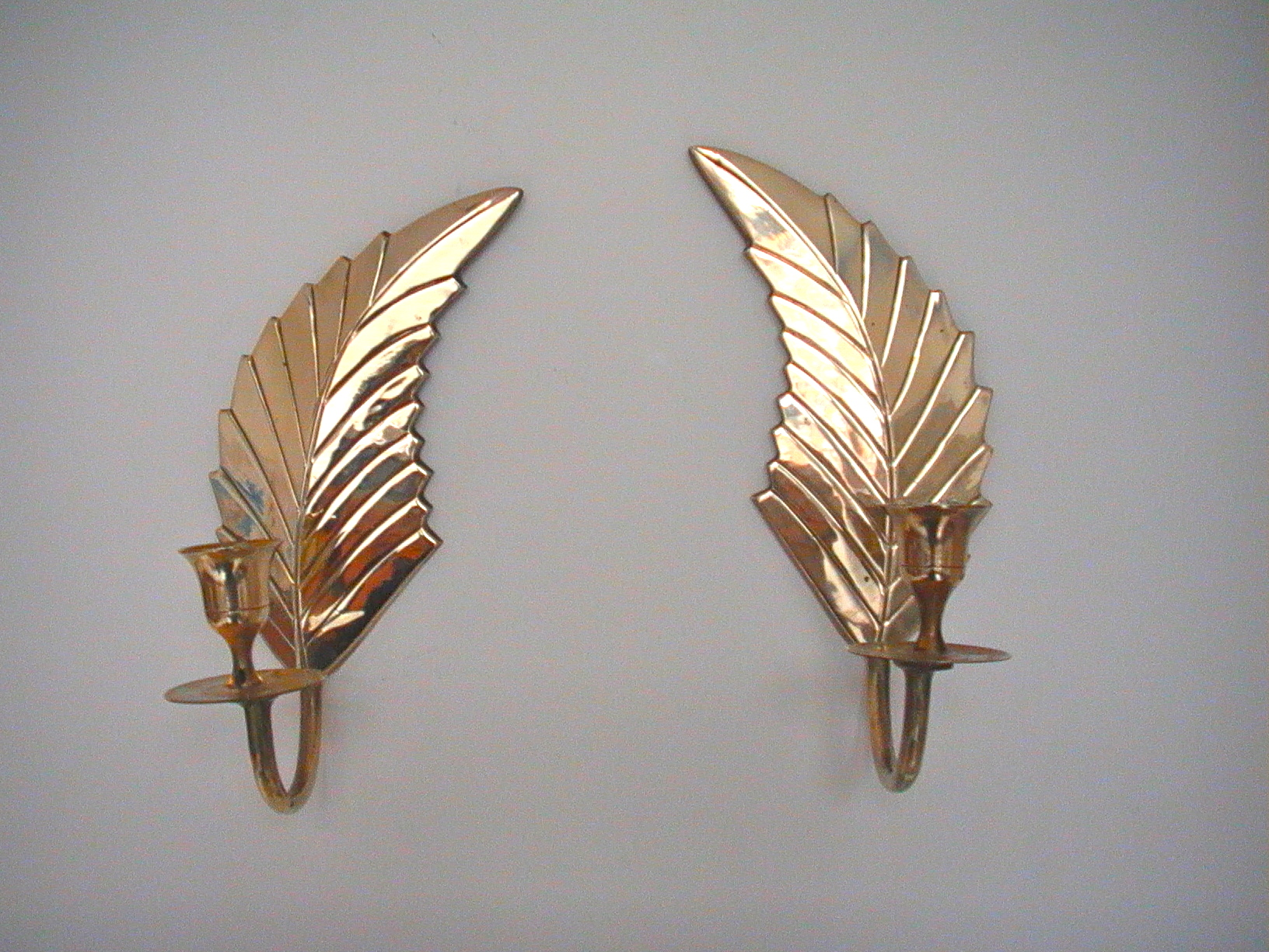 Sold Amsterdam The Netherlands Pair Of Gorgeous Shiny Hollywood Regency Boho Chic Feather Wall Candle Holders Vintagonist