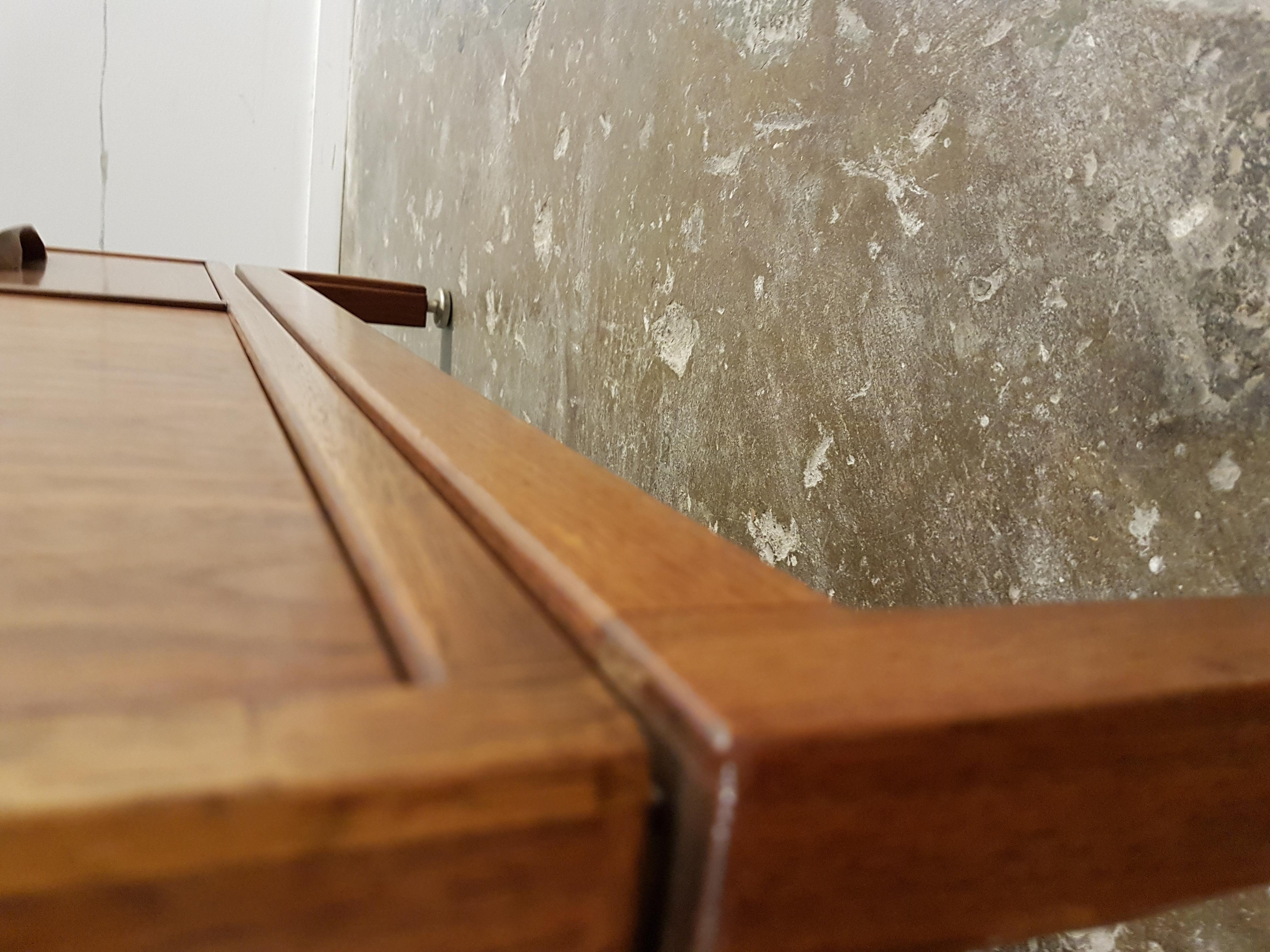 Vintage Mid Century Modern Small Walnut Cabinet Credenza Sideboard By Jens Risom 1970s Vintagonist