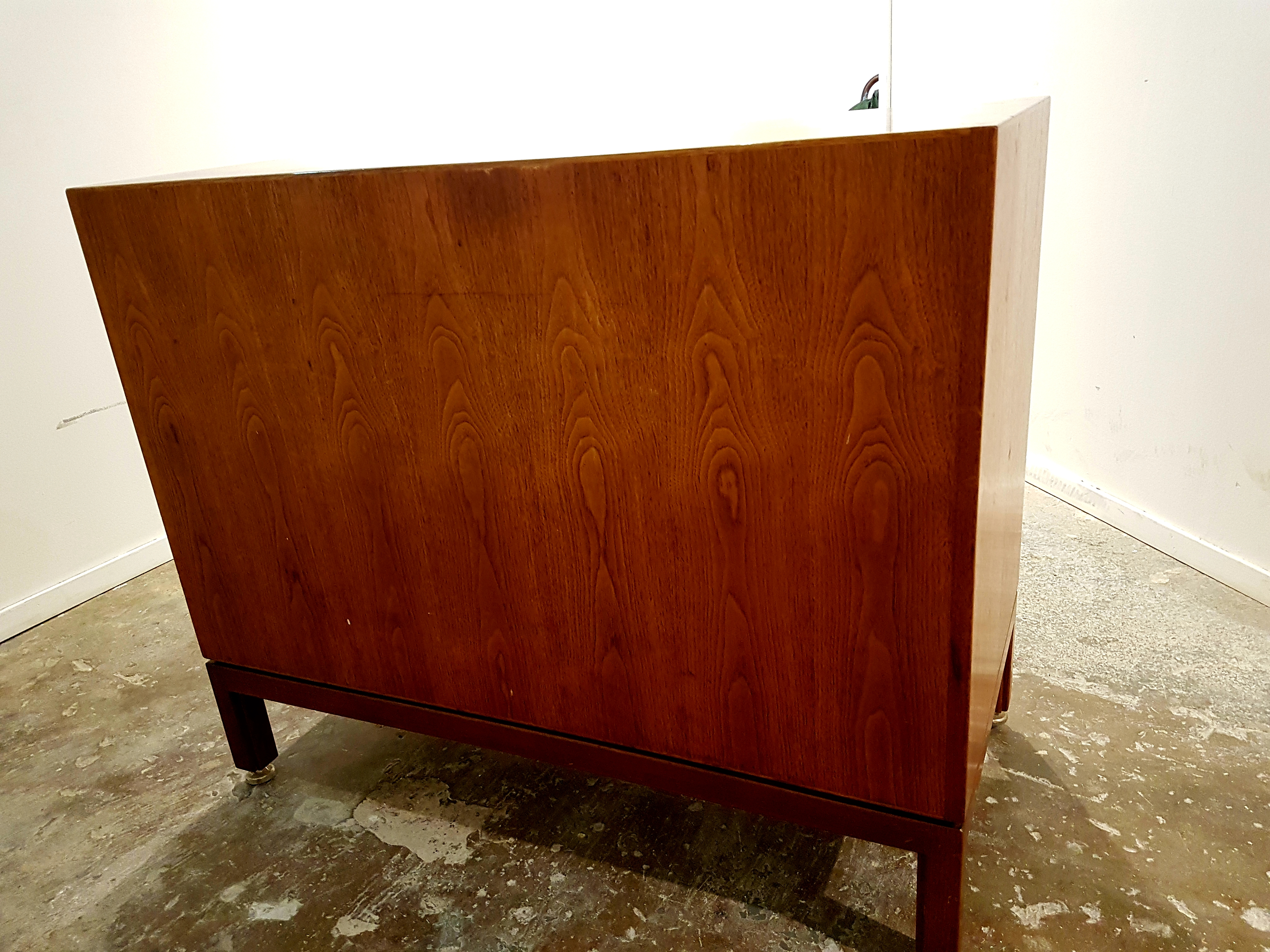 Vintage Mid Century Modern Small Walnut Cabinet Credenza Sideboard By Jens Risom 1970s Vintagonist